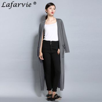 Lafarvie Quality Cashmere Long Cardigans Women Knitted Sweaters Spring Autumn Fashion Full Sleeve V-Neck Open Stitch Pull Jumper