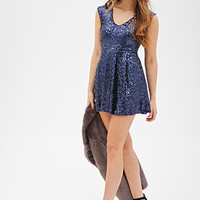 FOREVER 21 Sequined A-Line Dress Navy