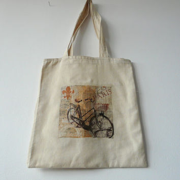 Bicycle Tote Bag, Bike Tote, Canvas Tote Bag, Grocery Bag, Bicycle Design Bag, Carry All Bag, Farmers Market Tote