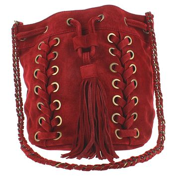 Musse & Cloud Nirvy - Red Suede Tassel Bucket Shoulder Bag