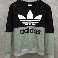 Adidas: male sport sweater plus velvet sleeve head size sweater T-shirt thickening