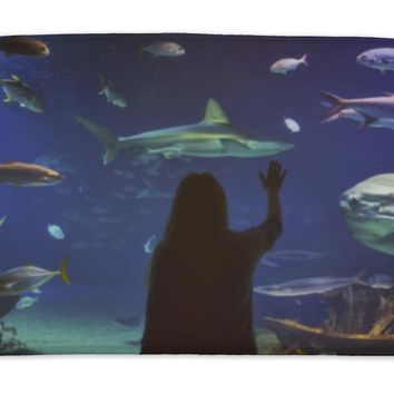 Bath Mat, Young Girl In Glass Tunnel In Loceanografic Aquarium