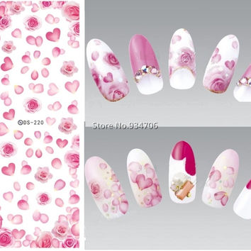 DS220 DIY Nail Design Water Transfer Nails Art Sticker Rose peony Flowers Nail Wraps Sticker Watermark Fingernails Decals