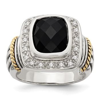 Sterling Silver Two Tone Silver And Gold Plated Sterling Silver w/Black Onyx w/Diamond Ring