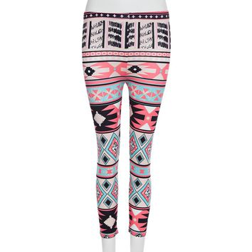 Retro Style Elastic Waist Printed Skinny Leggings for Women