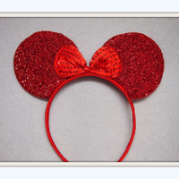 Red Minnie Mouse Ears Headband Red sparkle Bow Mickey Mouse Ears, Disneyland, Disney World