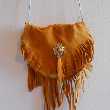 Beautiful, Gold Deer Hide Fringe Shoulder Bag with Silver Thunderbird, Turquoise and Bone Beads, Native American, Handmade by Lakota, OOAK