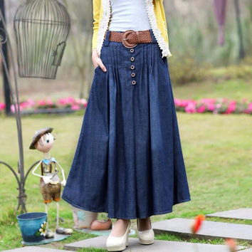 Denim Long Skirts Faldas Largas Skirts Womens 2016 Fashion Summer Jeans Maxi Skirt