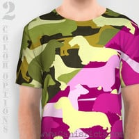 Camo Dachshund Puppy Dog T-Shirt Tee Pink Green Dark Pastel Camouflage Army Brown Cream Weenie Doxie Wire Long Smooth Silhouette Wiener Hot