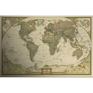 Vintage Retro Matte Kraft  Paper World Map Antique Poster Wall Sticker Home Decora 72.5*47.5CM~GS487