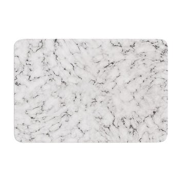 "Will Wild ""Marble"" White Gray Memory Foam Bath Mat"