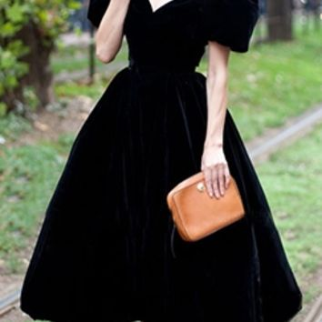 Black Soft Velvet V Neck Short Puffy Sleeve Flare Skirt Midi Dress