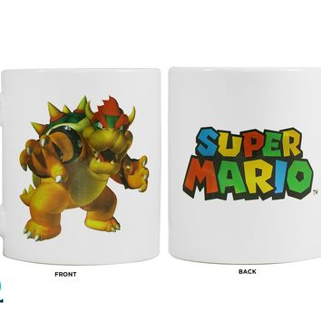 11oz OFFICIAL Super Mario BROWSER White Ceramic Coffee Mug with Decal printed Novelty GIFT