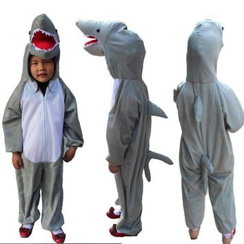 Children Cute Shark Costume Animal Jumpsuits Boys Girls Cosplay Halloween Stage Performance Clothing Birthday Party Gift