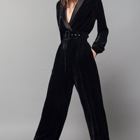Brooklyn Nights Black Velvet Long Sleeve Cross Wrap V Neck Wide Leg Loose Jumpsuit - Sold Out