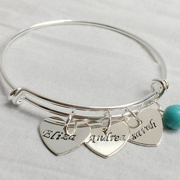 Mother's day Jewelry for mom, mommy Gift, Bridesmaid Gift, Children name on bangle for mom, Personalized jewelry for women, Turquoise Gift