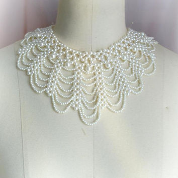 Pearl Necklace ,Victorian Peter Pan Collar Necklace faux pearl Cape collar Shabby Cottage Chic, maiden detachable collar bib necklace goth