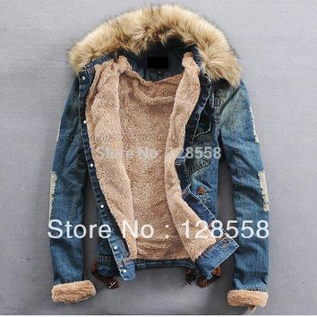Stylish Fur Collar Denim Jacket