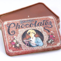 Vintage Chocolate Box Tin Candle by CherryBlossomCandles on Etsy