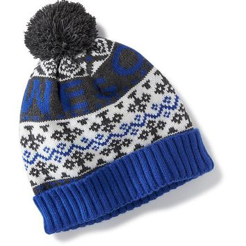 Old Navy Patterned Pom Pom Beanie Size One Size - Blue Fair Isle