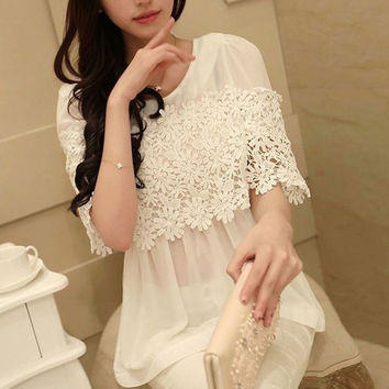 Pure color hollow out lace shirt