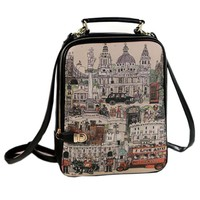 Painting Graphic Faux Leather Backpack - OASAP.com