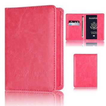 Men And Women Passport Holder Faux Leather  2 Card Slot