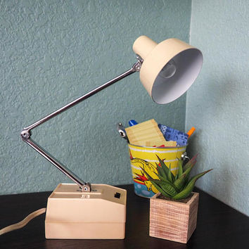 Mid Century Hi Intensity Desk Lamp Beige Adjustable Task Light Retro Industrial Lighting