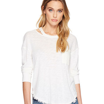 Splendid Seaport Mixed Media Cut Out Neck Long Sleeve Tee