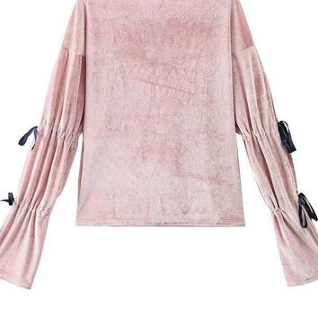 Fashion Velour Women Tees and Tops Elegant Lady Tops Flare Sleeve Spring Autumn T-shirts Basic Women Tops