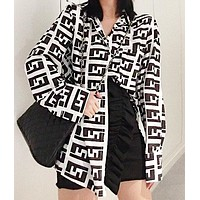 Fendi Fashion New More Letter Print Long Sleeve Top Shirt Women