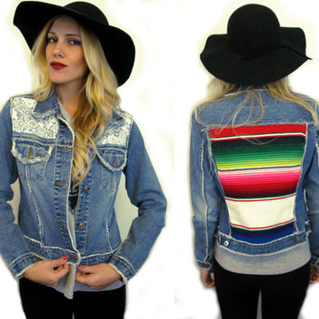 Denim and Lace Mexican Serape Blanket Jacket Womens xs- small