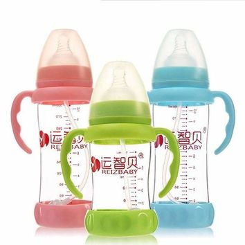 Cute Tiger Glass Baby Bottle With Removable Colic Straw