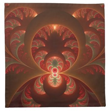 Luminous abstract modern orange red Fractal Cloth Napkin