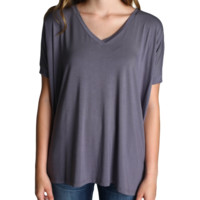 Charcoal Grey Piko V-Neck Short Sleeve Top
