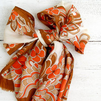 Mid Century Floral Scarf, Orange, Brown, Beige, Mad Men Fashion, Retro woman scarf, Gift for woman, girlfriend, wife