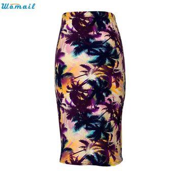 Womail Newly Design  Women Hot Summer Trees Printed Knee-Length Elastic High Waist Pencil Skirt 160520 Drop Shipping