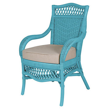 Plantation Armchair, Blue/Beige - Arm Chairs - Dining Chairs - Dining Room - Furniture | One Kings Lane