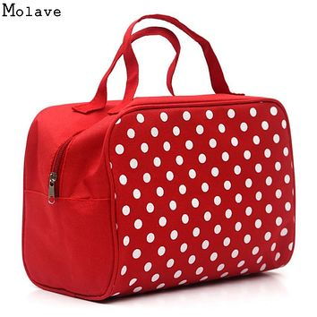 New Square Dot PU leather Portable Cosmetic Bag Travel CosmeticsBag Trousse De Maquillage Necessaire Women Toiletry Kits D38M8