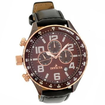 Invicta 11251 Men's I Force Lefty Brown Dial Black Leather Strap Chronograph Brown Ceramic Watch