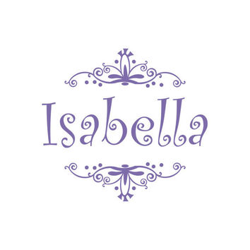 Personalized Whimsical Scroll Frame Vinyl Name Wall Decal - Girl Baby or Boy Baby Nursery Bedroom Wall Art 22H x 24W CN013
