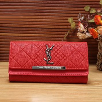 YSL Yves Saint Laurent Women Fashion Leather Shopping Wallet Purse-3