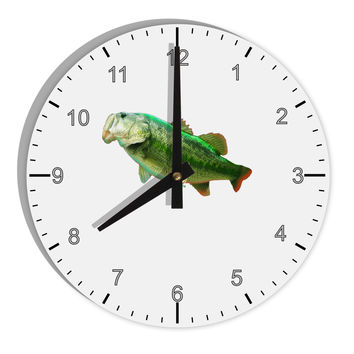 "Big Bass Fish 8"" Round Wall Clock with Numbers"