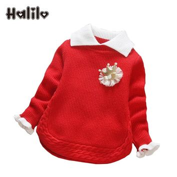 Halilo Baby Girl Winter Sweater Collar Children Clothing Baby Knitted Sweater Spring Autumn Girls Sweater Infant Girls Clothes