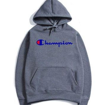 The Champion Stereo Printed With A Velvet Jacket A New Style Hooded Autumn And Winter Wear Men's Hoodies.icon With Letter