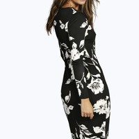 Emma Long Sleeve Midi Bodycon Dress