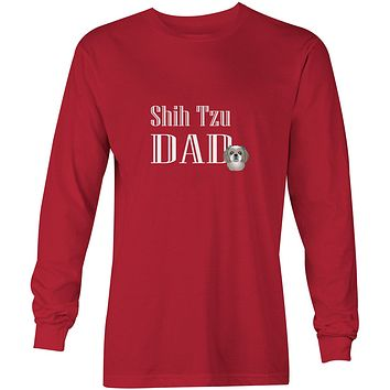 Gray Silver Shih Tzu Dad Long Sleeve Red Unisex Tshirt Adult Extra Large BB5258-LS-RED-XL