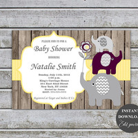 Baby Shower Invitations Boy Girl Rustic Elephant Baby Shower Invites Printable Baby Shower Invitation Yellow Plum FREE Thank You card (87W2)