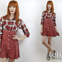 Vintage 90s Red Plaid Babydoll Dress XS Red Plaid Dress Plaid Mini Dress 90s Grunge Dress Red Dress Red Floral Dress Floral Mini Dress