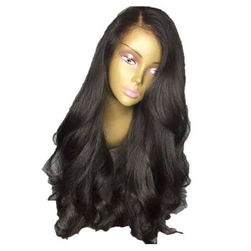 DLME Heat Resistant Synthetic Lace Front Wigs For Black Women 22Inch Natural Color Long Black Wig With Baby Hair Free Shipping